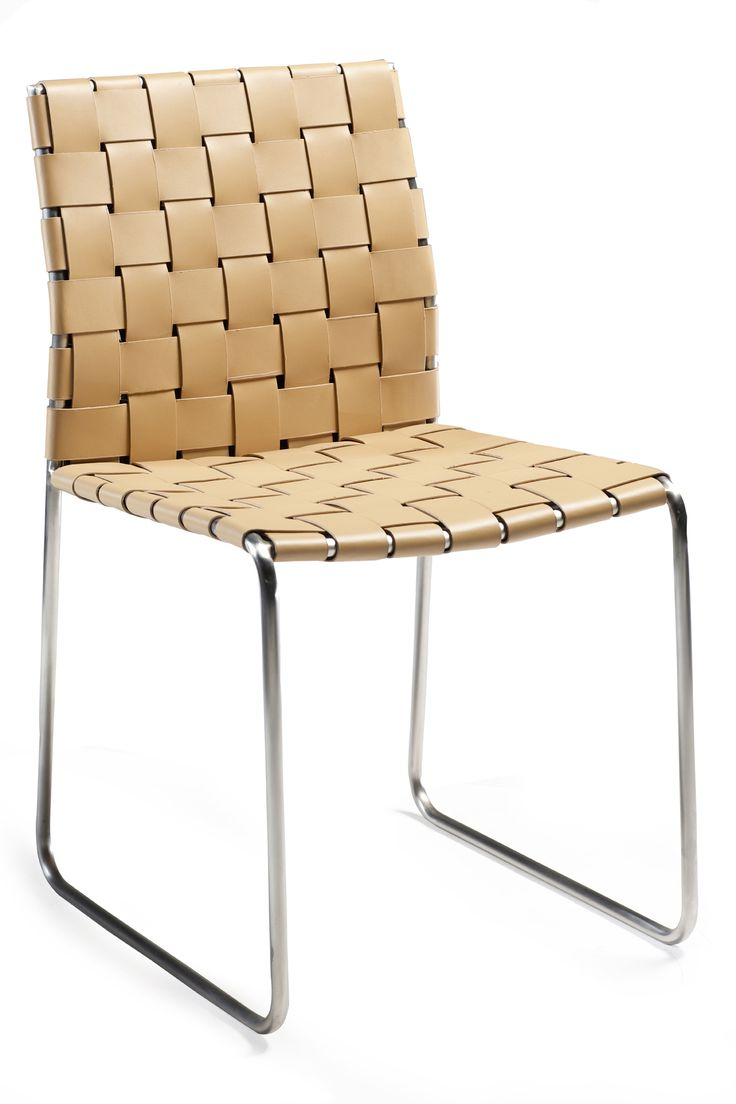 BOND Chair in braided art. leather and chrome legs