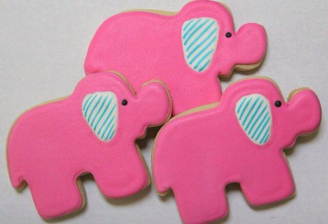 Pink elephant shower cookies