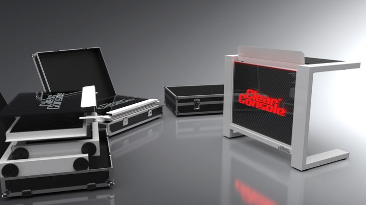 "ClearConsole Cube 48"" LED DJ Booth with flight cases"