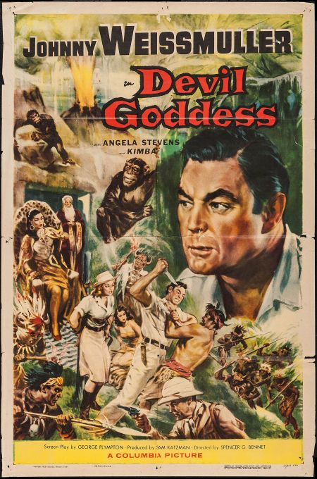 "Devil Goddess (Columbia, 1955). One Sheet (27"" X 41""). Adventure. Starring Johnny Weissmuller, Angela Stevens, Selmer Jackson, William Tanne..."