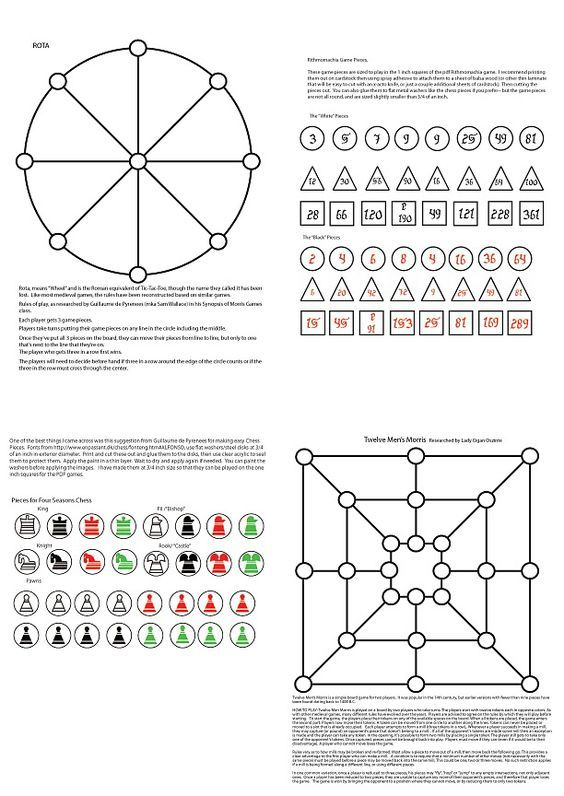 DIY: printable medieval games