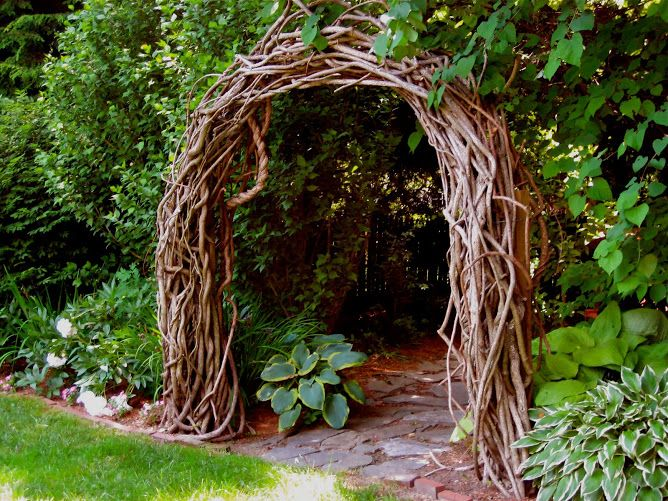 This arbor, made from bittersweet vine, is a unique and beautiful way to deliniate areas of your yard.