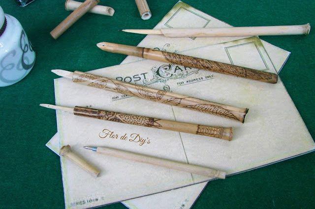 Flor de diy's: Decorando una pluma de bambú...