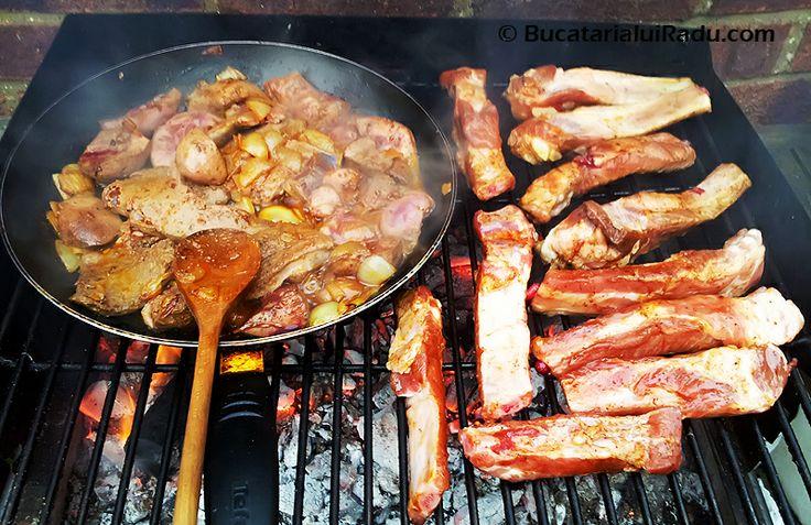 #Ficatei si #rinichi la tigaie cu ceapa, #coaste de porc marinate la gratar.