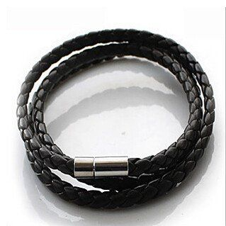 p2  Hot NEW Multilayer Synthetic Leather Braided Rope Bracelet Wristband Mens Cool Bangle Cuff Gift Drop Free