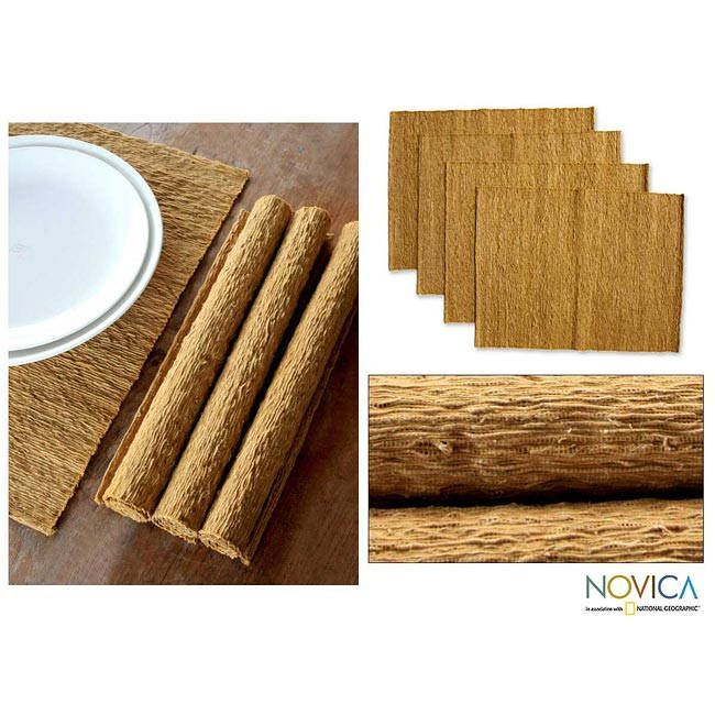Novica Set of 4 'Earthly Nature' Placemats