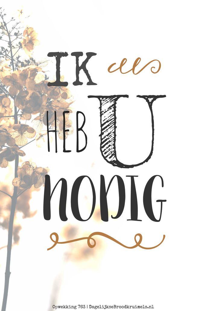 Ik heb U nodig. Opwekking 763 #Opwekking https://www.dagelijksebroodkruimels.nl/opwekking-763-v2/