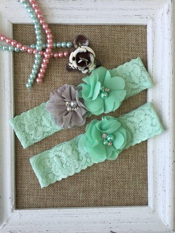 Wedding Garter Set Mint And Grey Lace Toss