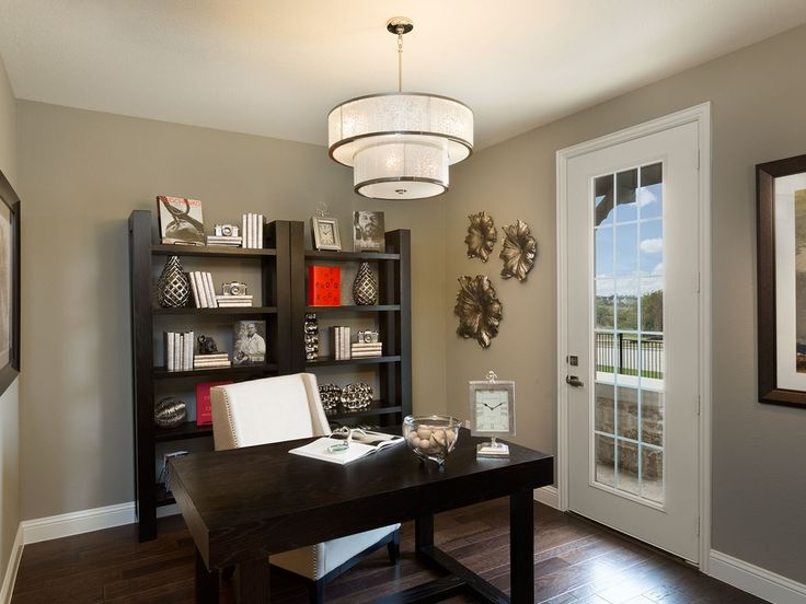Contemporary Home Office with Pendant light, Hardwood floors, High ceiling