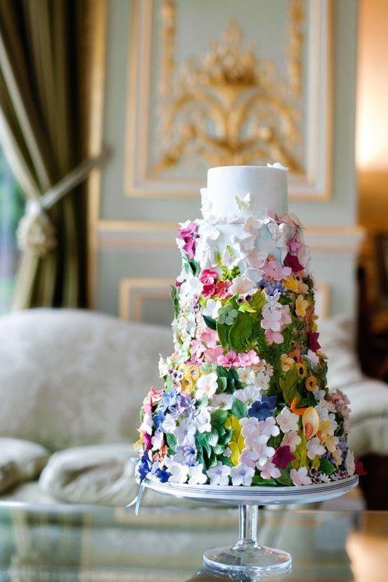 allover floral wedding cake