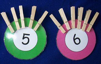 Clothes Pin Counting ... children attach the matching number of clothes pins to the number circles.