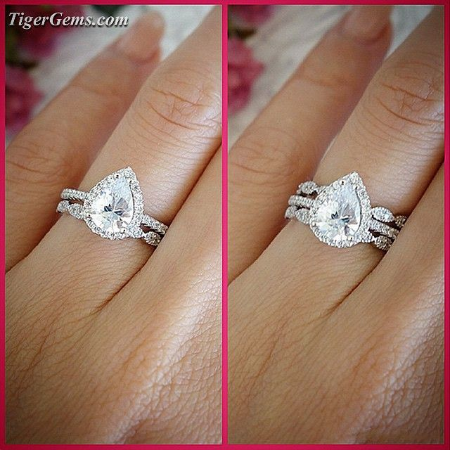 One band or double bands?  This is a unique style I worked on for a client using the 1.5 carat pear shaped ring set with the art deco bands. You can buy the bands separately and create your own style! ✨ Shop now at www.TigerGems.com ✨
