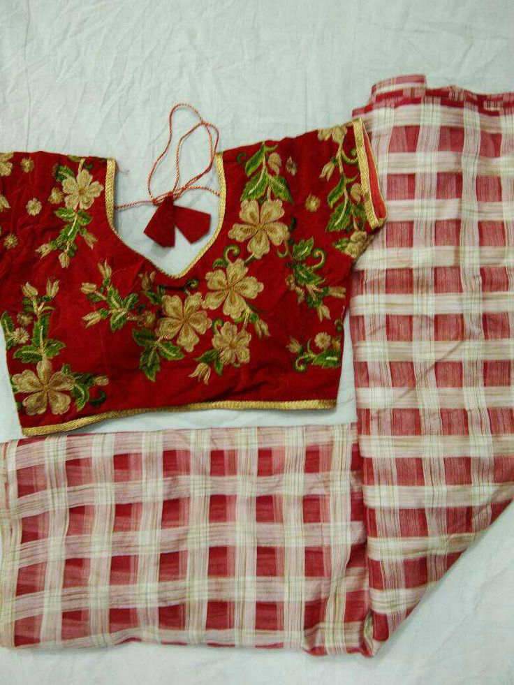 Pepper cotton saree with velvet based embroedary work blouse max size 38