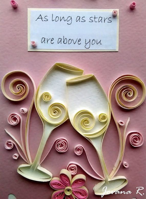 Quilling card/ Handmade/ Unique/ Wedding card/ от PaperMagicByJR