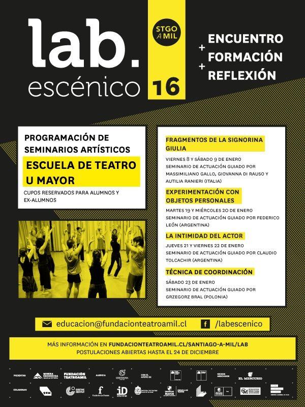 Los talleres de Lab Escénico  que se impartirán en Enero de forma gratuita