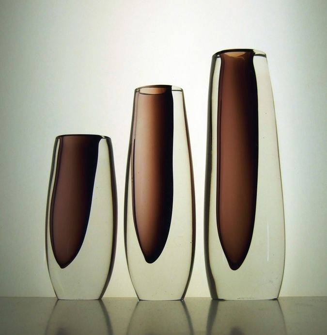 Vicke Lindstrand - red brick off centre vases