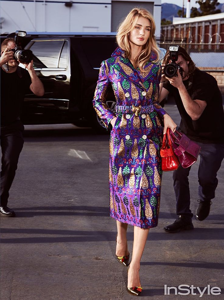 Rosie Huntington-Whiteley is pap-worthy in Gucci jacquard coat with Givenchy bags and Altuzzara pumps
