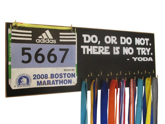 Ha ha ha!  I so need this!  Medals and bibs display  running medals and by runningonthewall, $44.99