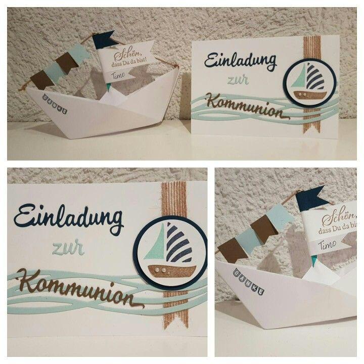 Einladung zur Kommunion mit kleinem Boot - Stampin' Up!
