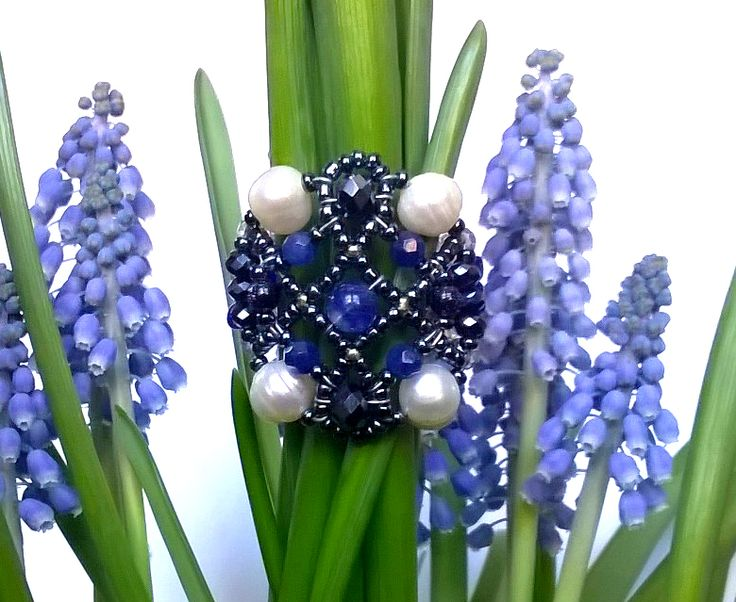 """Sheherezade"" Sapphire ring. Sapphire, Blue moss quarts, Freshwater Pearls.  www.musesa.com"