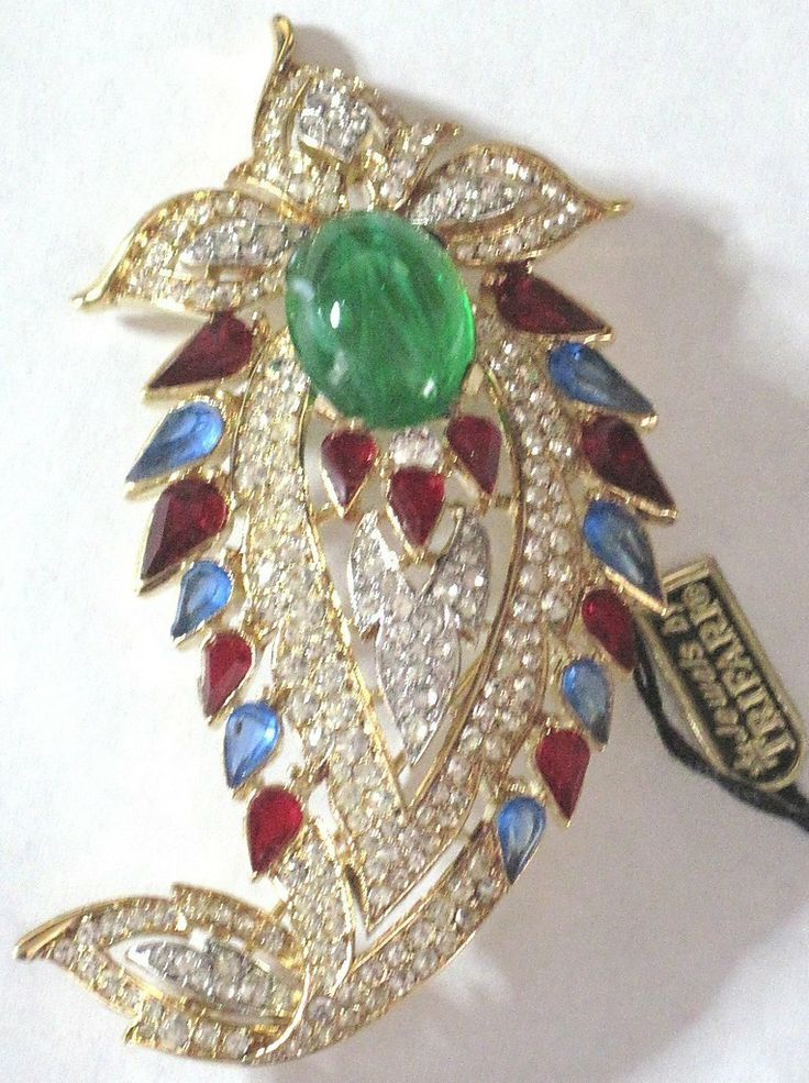 TRIFARI Jewels of India Rhinestone Green Cabochon Pin W/ ORIGINAL TAG! from jennifersjewels on Ruby Lane. designed by Alfred Philippe..
