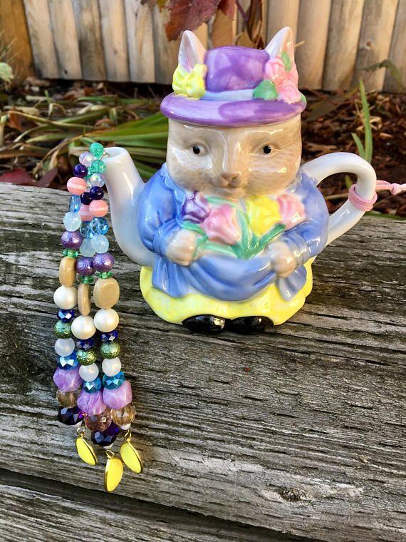 Bunny Rabbit Mobile Repurposed Tea Pot Mobile Wind Chimes