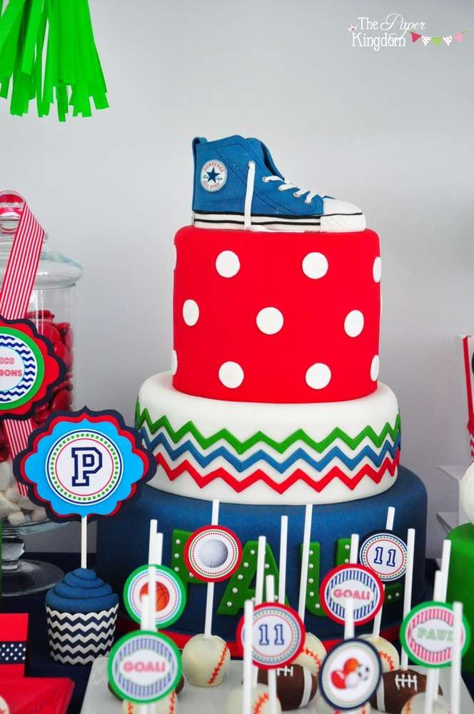 Awesome cake at a sports birthday party! See more party ideas at CatchMyParty.com!
