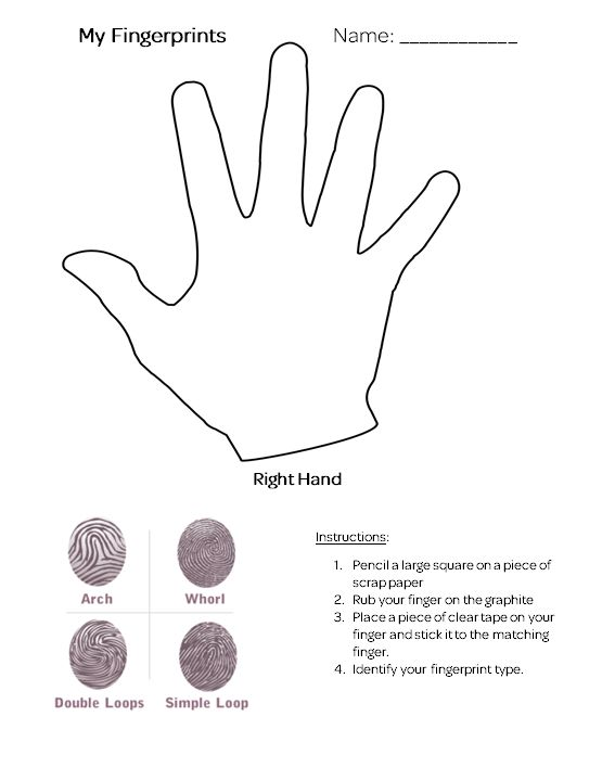 Fingerprint worksheet. Girl Scouts Junior Detective Badge.