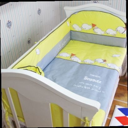 42.80$  Buy here - http://ali8ao.worldwells.pw/go.php?t=32692424346 - Promotion! 5PCS 100% cotton baby bedding set sheets super soft kit berco ,include:(bumpers+sheet)