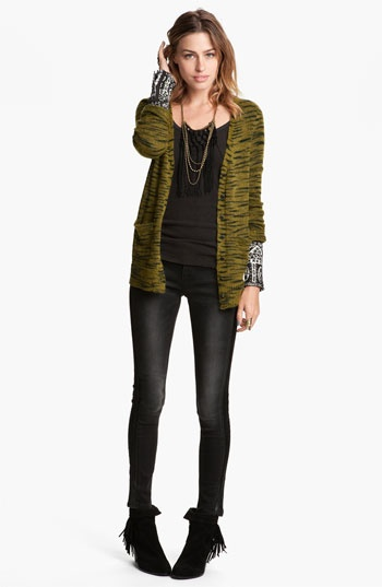 Free People 'Tiger' Stripe Cardigan: Stripes Cardigans, People Cardigans, Green Tigers, Fierce Tigers Strips, Free People, Bibs, People Tigers, Tigers Eye, Tigers Stripes