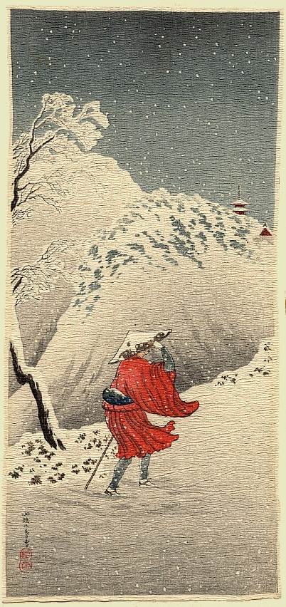Winter Scene  Shotei  c.1936.  A priest, possibly Nichiren, trudging through the snow towards a distant temple.