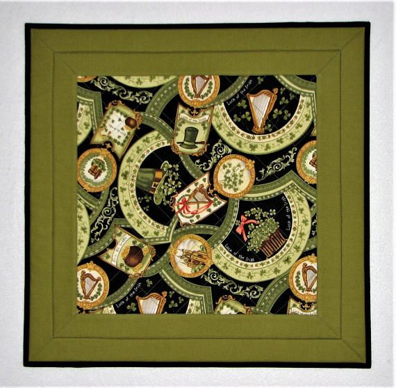 Quilted Table Topper St. Patrick's Day Table Mat Luck of