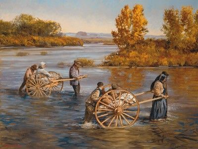 Hand Carts in River - The sacrifices of settling the West.  Many Mormons didn't have enough money for a covered wagon and would travel with nothing  but a handcart.  Terrible, terrible conditions.