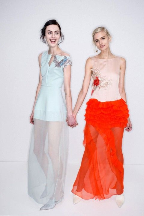 These dresses are so pretty.  A leeetle bit short on the opaque fabric, and not really for a wedding guest, but like as art maybe.