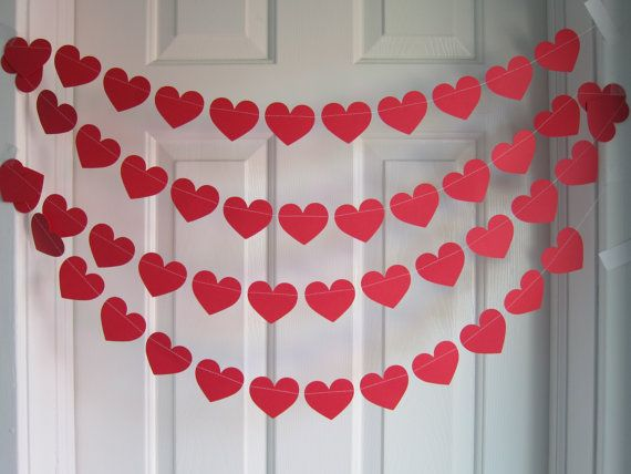 Valentine's Day Decorations, Red Hearts, Love Party Decorations, Paper Garland, Heart Garland, Valentine's Day Garland, Valentine's Day