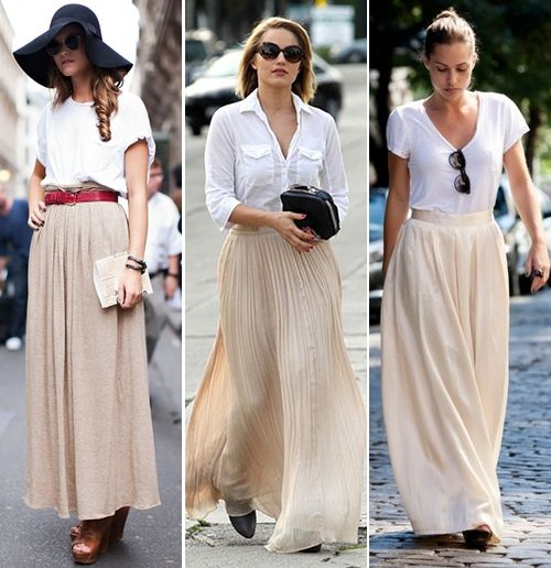 : Summer Looks, Flowy Skirts, Casual Shirts, Dianna Agron, White Shirts, Street Style, Outfit, Long Skirts, White Maxi Skirts