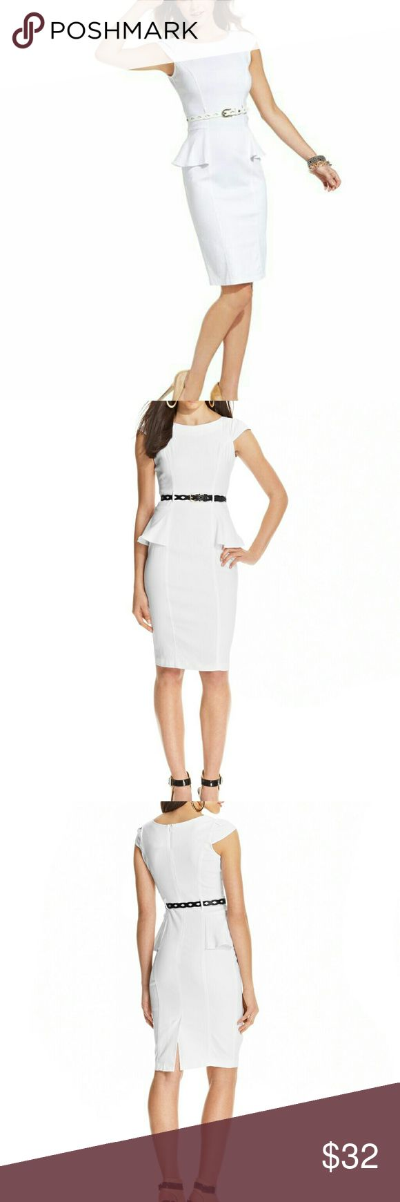 NWOT White peplum dress with cap sleeves New without tags white peplum dress with cap sleeves. Never worn. Perfect condition! Size 5/6. Make me an offer! XOXO Dresses Midi