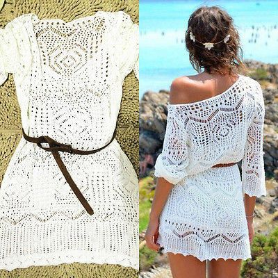 Elegant Sexy Lace Crochet Knit White Swimsuit Beach Cover Up - Loluxe - 2