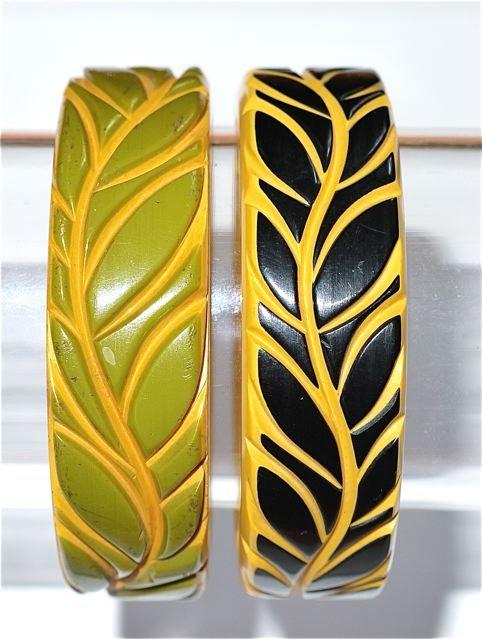 Carved bakelite bangles. Love!