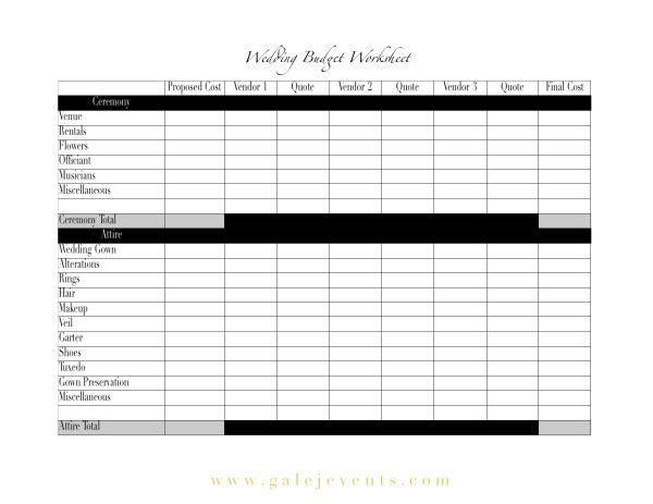 Ms De  Ideas Increbles Sobre Wedding Budget Worksheet En