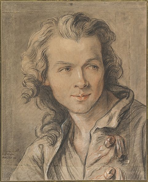 1741 Portrait of Étienne Maurice Falconet  by Jean-Baptiste Lemoyne the Younger. Chalk drawing.