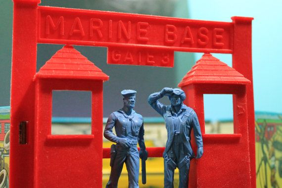 Ideal Marine Base Vintage Playset with Marines by RetroramaStudios #Ideal #vintage #toys #toysoldiers #playsets #military #Marines