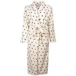 Koudebestendige witte dames badjas, bezaaid met donkere puntjes