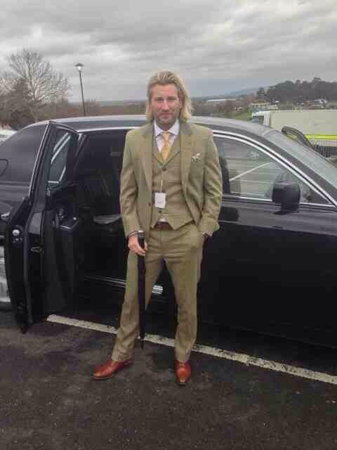 Robbie Savage in his bespoke 3 piece tweed suit we made for him for Cheltenham Races