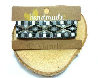 Miyuki armband handgeweven kralenarmbandje grijs zwart zilver suede bohemian ibiza trendy handgemaakt Loom beaded bracelet geweven beads