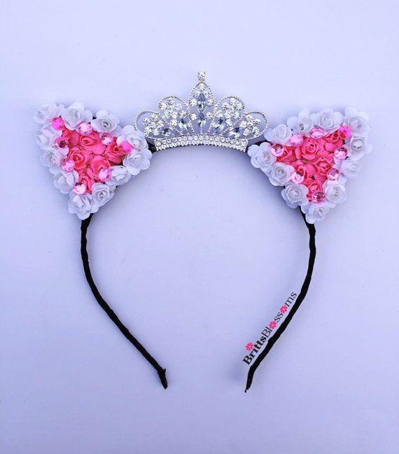 Princess Kitty Ears, Cat Ears, Flower Cat Eats, Flower headband, Ariana Grande, Disneyworld, Disneyland, Birthday