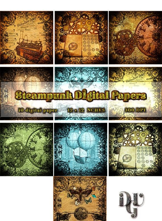 000 Steampunk Style Digital Paper Pack. Victorian paper for