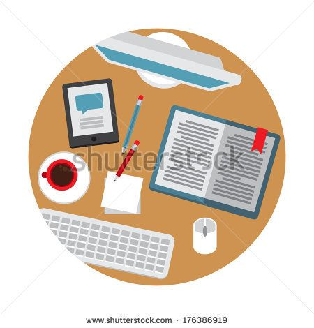 Flat vector illustration of the desk with business stuff by Karamazov Brother, via Shutterstock
