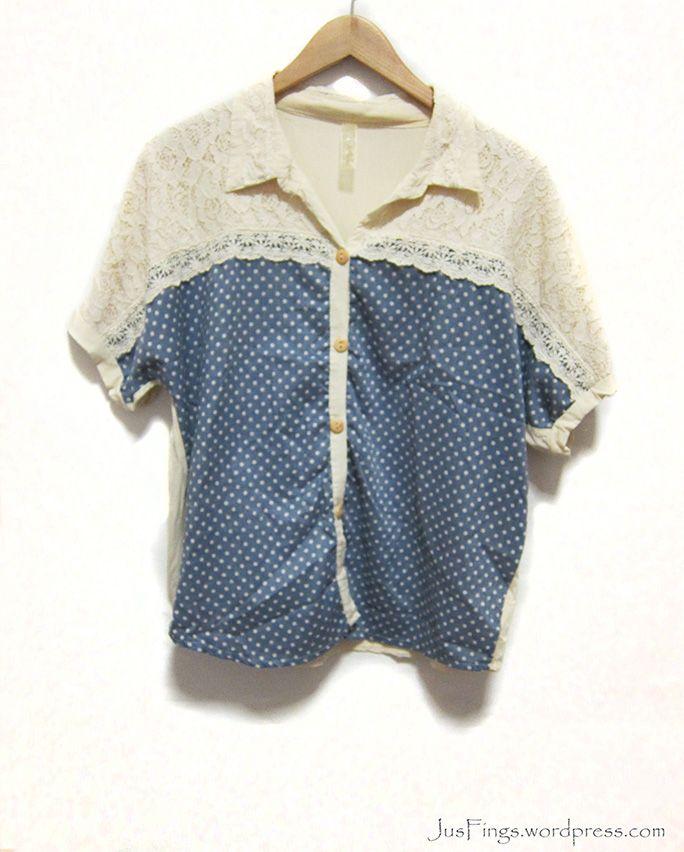 Polka Dot Short Sleeves Blouse $10