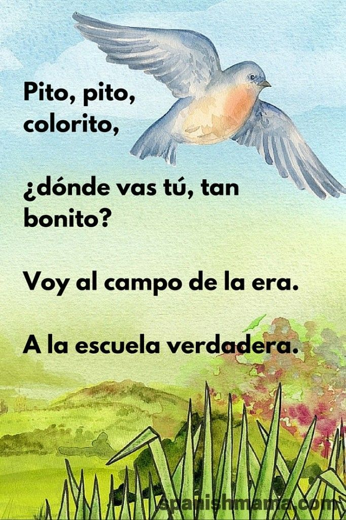 Pito, pito, colorito, ¿dónde vas tú, tan bonito? Voy al campo de la era. A la escuela verdadera. Lovely poem in Spanish about nature being the best school. Charlotte Mason would love this poem. :)
